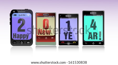 Abstract colorful background with four smartphones with the text 2014 Happy New Year - stock vector