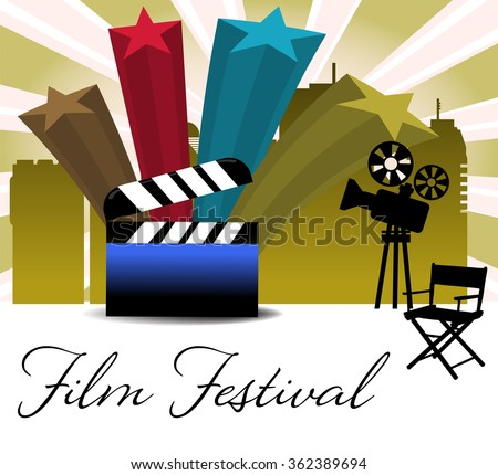 Abstract colorful background with four stars, movie projector, chair and clapboard. Film festival theme