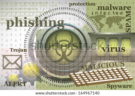 Abstract colorful background with high tech elements, computer keyboard, binary codes and various words related to internet security - stock vector