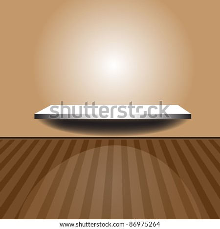 Abstract colorful background with illuminated shelf under an empty wall