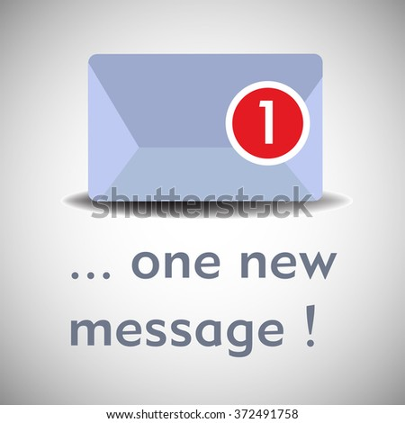 Abstract colorful background with isolated envelope with an incoming message. New message concept