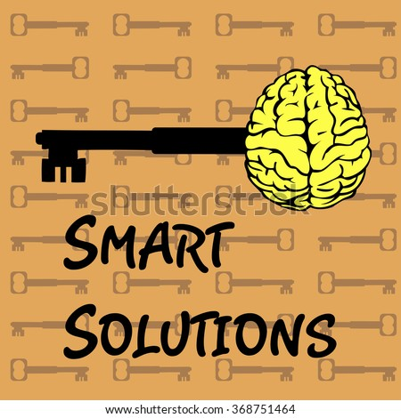 Abstract colorful background with keys and yellow brain shape. Smart solutions theme - stock vector
