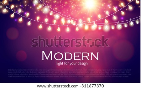 Abstract colorful background with light garland. Vector illustration - stock vector