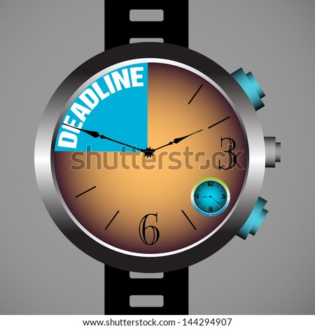 Abstract colorful background with modern hand watch and the text deadline written inside the watch