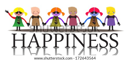 Abstract colorful background with more children holding their hands and standing on the word happiness - stock vector