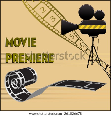 Abstract colorful background with movie projector, film reel and the text movie premiere written with capital letters - stock vector