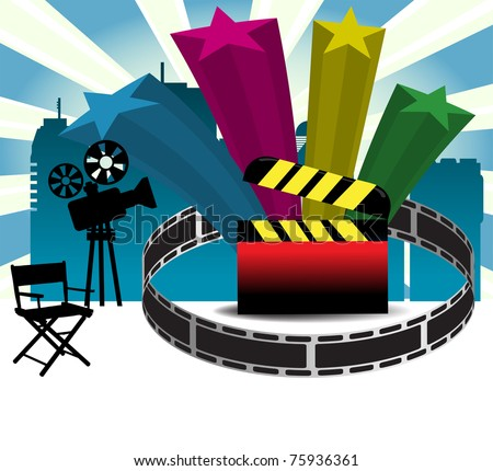 Abstract colorful background with movie projector, film strip, clapboard and colorful stars. Cinema concept - stock vector
