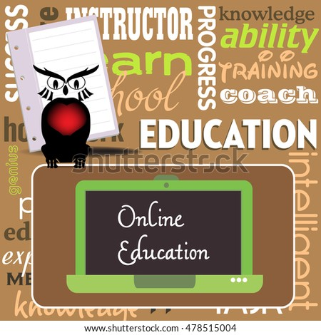 Abstract colorful background with owl, laptop and more words related to education. Online education theme