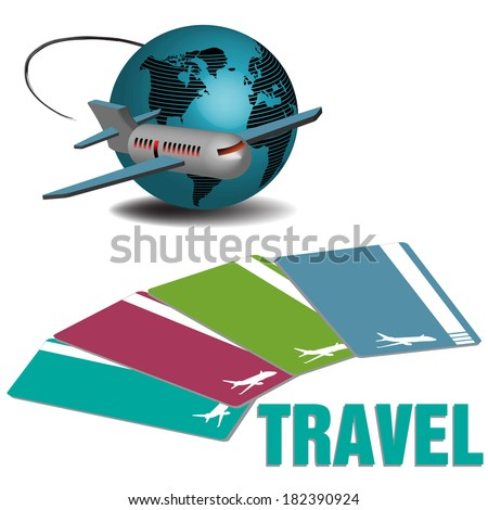 Abstract colorful background with plane flying near the globe and four flying tickets colored in various ways - stock vector