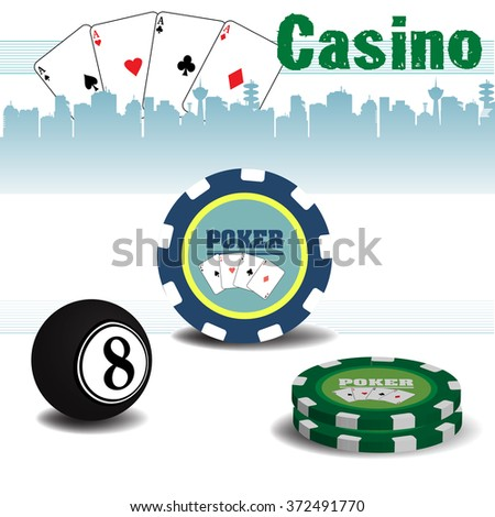 Abstract colorful background with poker chips, billiard ball, poker cards and the text casino written with green letters - stock vector