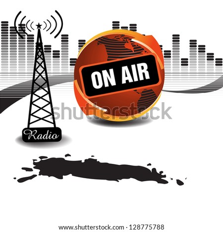 Abstract colorful background with radio relay tower, red globe and the text on air written on the globe. Radio theme - stock vector