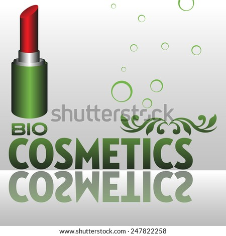 Abstract colorful background with red lipstick and the text bio cosmetics written in green - stock vector