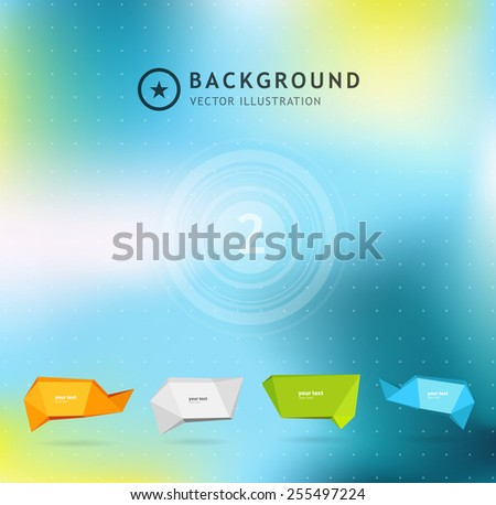 Abstract colorful background with set of origami banners. Vector illustration - stock vector