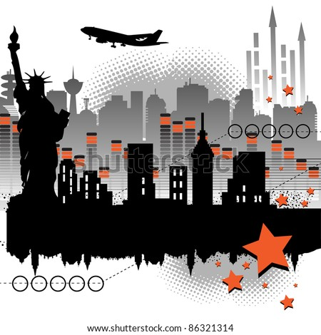 Abstract colorful background with skyscrapers, arrows, stars, building silhouettes, flying plane and the Statue of Liberty silhouette. Abstract urban art - stock vector
