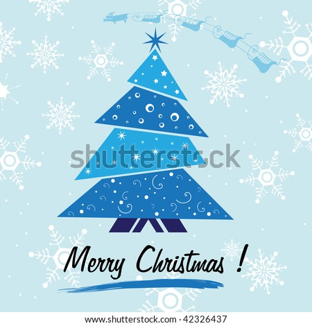 Abstract colorful background with small blue Christmas tree, white snowflakes and the text Merry Christmas written under the tree. Christmas concept - stock vector