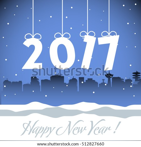 Abstract colorful background with the number 2017 hanging from above and the text Happy New Year written below