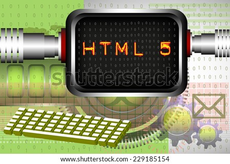 Abstract colorful background with the text HTML written on a computer screen. HTML theme - stock vector