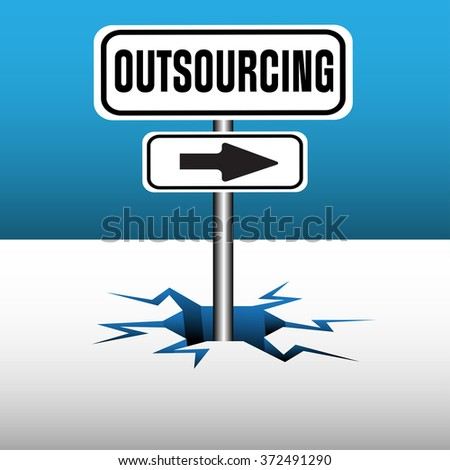 Abstract colorful background with the text outsourcing and an arrow coming out from an ice crack - stock vector