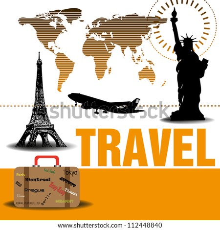 Abstract colorful background with the world map, the Statue of Liberty, the Eiffel Tower, a plane and a suitcase. Traveling concept - stock vector