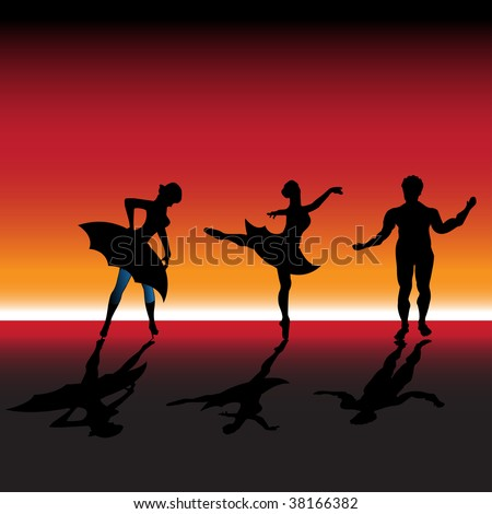 Abstract colorful background with three ballet dancers dancing on a stage - stock vector
