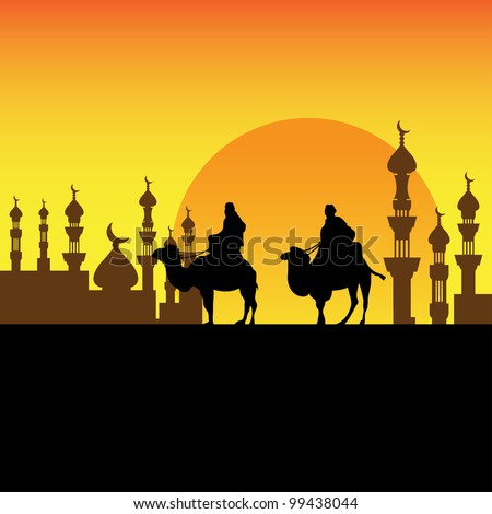 Abstract colorful background with two bedouins approaching a town on their camels - stock vector