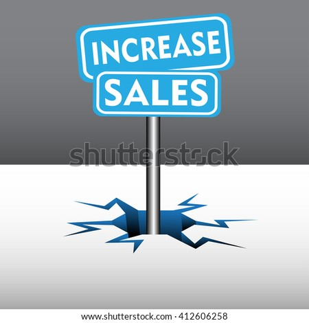 Abstract colorful background with two blue plates with the text increase sales coming out from an ice crack - stock vector