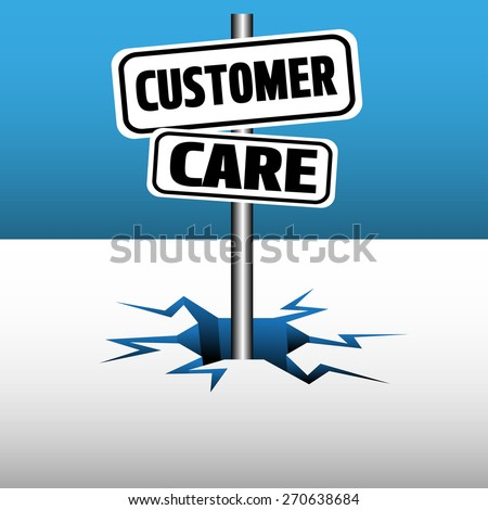 Abstract colorful background with two plates with the text customer care coming out from an ice crack - stock vector