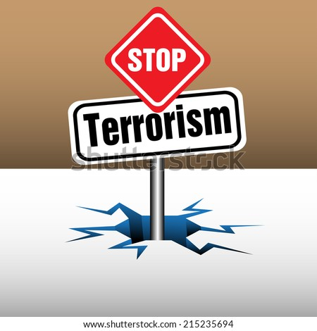 Abstract colorful background with two plates with the text stop terrorism coming out from an ice crack - stock vector