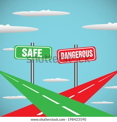 Abstract colorful background with two roads intersecting in skies. Safe way and dangerous way concept - stock vector