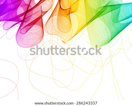 Abstract colorful background with wave over white, Vector