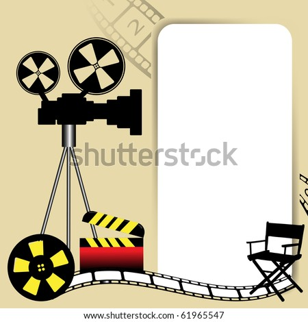 Abstract colorful background with white frame, movie camera, film reel, director chair and clapboard. Cinema concept - stock vector