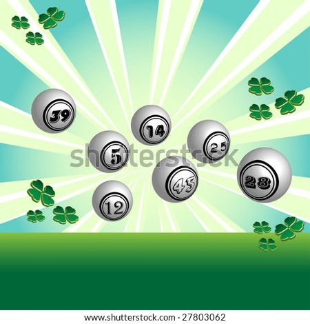 Abstract colorful background with white lottery balls with various numbers and four leaf clovers, symbol of good luck - stock vector