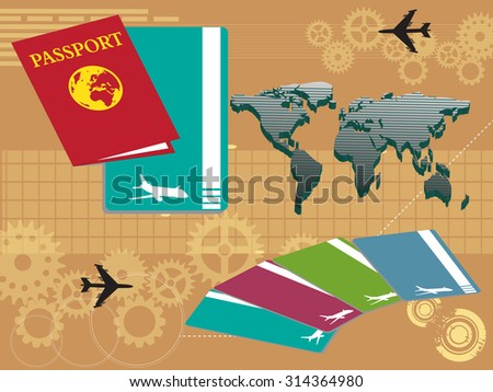 Abstract colorful background with world map, plane tickets and passport. Traveling concept