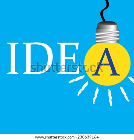 Abstract colorful background with yellow light bulb hanging instead of the A letter from the idea word - stock vector
