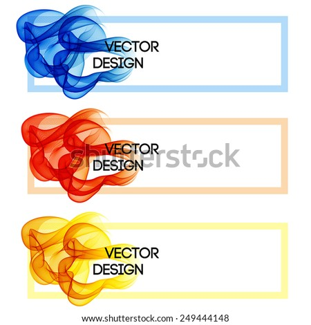 Abstract colorful banner with curves lines - stock vector