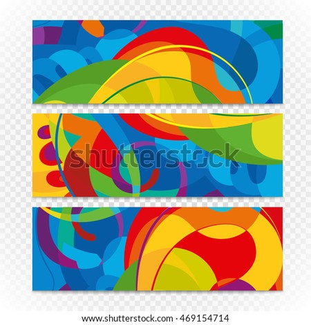 Abstract colorful banners on transparent. Modern design template