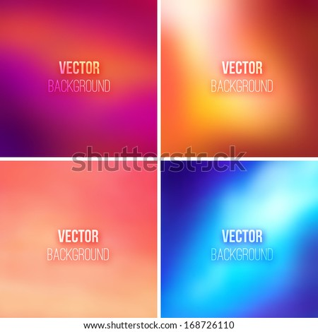 Abstract colorful blurred vector backgrounds set - stock vector
