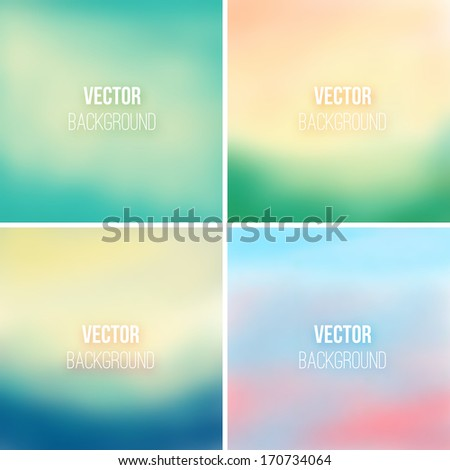 Abstract colorful blurred vector backgrounds set 3 - stock vector
