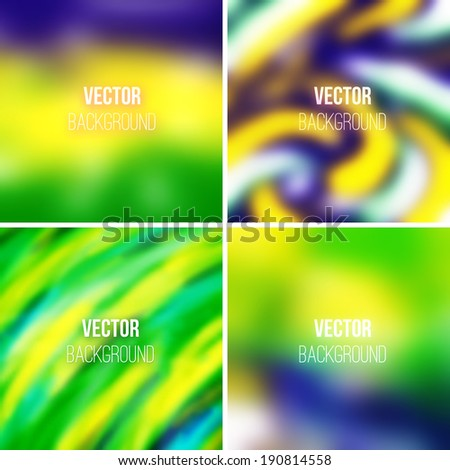 Abstract colorful blurred vector backgrounds set 24 - stock vector