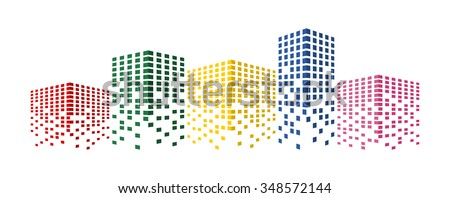 Abstract colorful building and city scene illustration. Urban cityscape. business or finances icon, creative simple graphic design. real estate template, vector art image, isolated on white background - stock vector