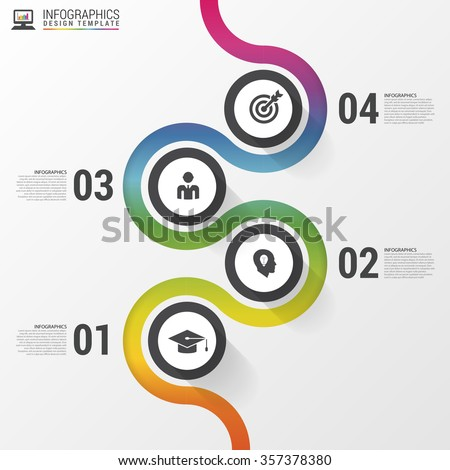 Abstract colorful business path. Timeline infographic template. Vector illustration. - stock vector