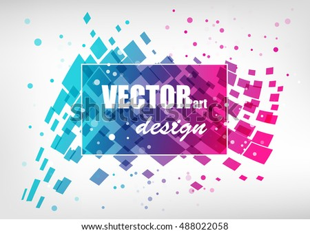 Abstract colorful business template, geometric splash element, blue and pink on white background