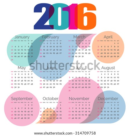 Abstract colorful calendar 2016. Vector
