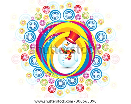 abstract colorful christmas snowman explode vector illustration - stock vector
