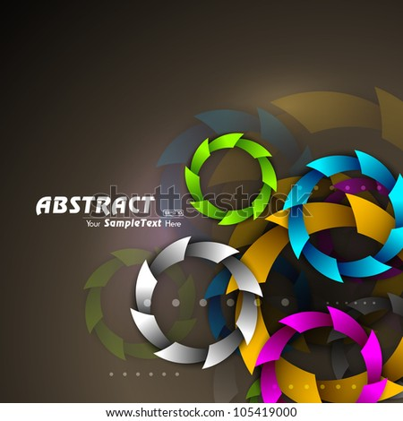 Abstract colorful circles on plane brown background. EPS 10. - stock vector