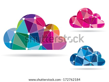 Abstract Colorful Cloud for Computing, Apps, Web - Vector Illustration - stock vector