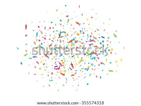 Abstract colorful confetti background. Isolated on the white. Vector holiday illustration. - stock vector