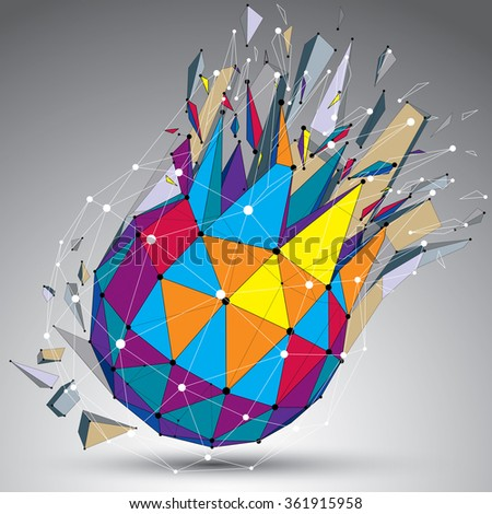 Abstract colorful 3d faceted figure with connected lines and dots. Vector low poly shattered design element with fragments and particles. Explosion effect. - stock vector