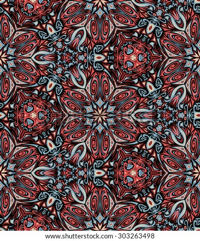Abstract Colorful Damask Seamless Kaleidoscopic Vector Background - stock vector