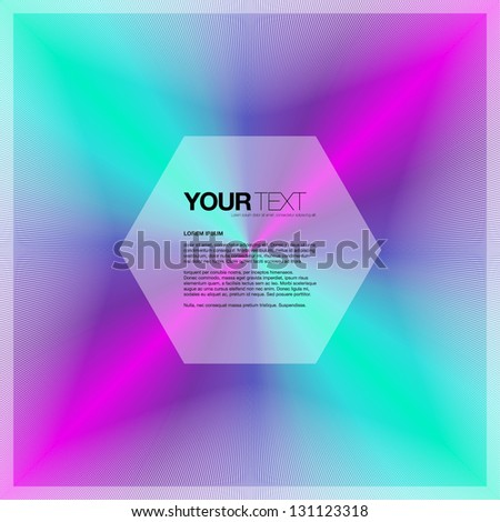 Abstract colorful design background with hexagon text box. Eps 10 vector - stock vector